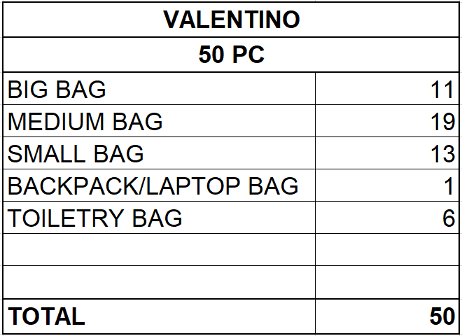 VALENTINO BAG COLLECTION - FROM 24,40 EUR / PC